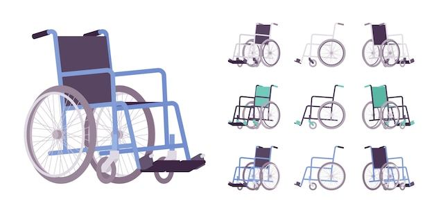 Conjunto de dibujos animados de silla de ruedas