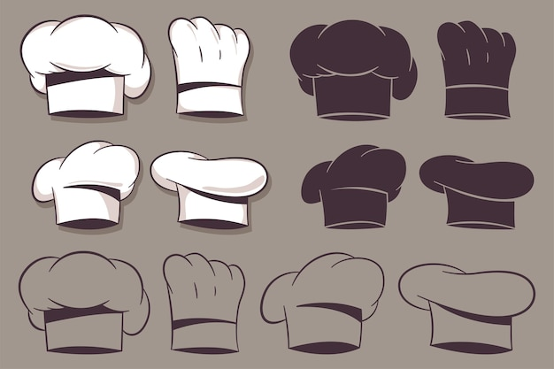 Conjunto de dibujos animados de sombreros de chef aislado sobre fondo