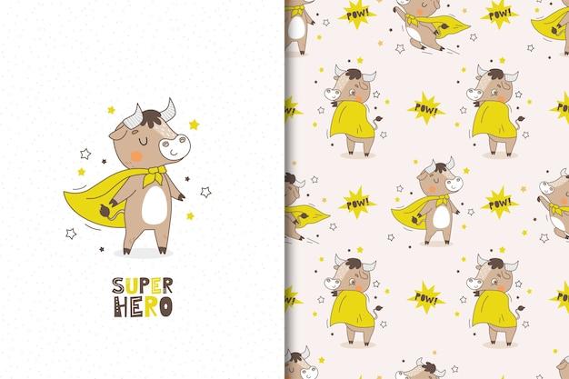 Conjunto de dibujos animados de superhéroe de toro