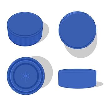 Conjunto de dibujos animados de tapa de botella de plástico