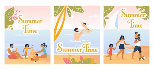 Conjunto de dibujos animados y tarjetas de verano familiar