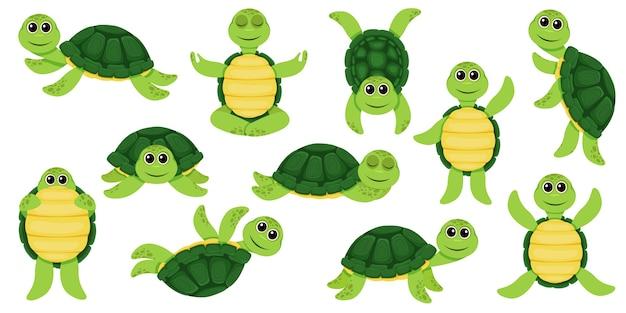 Conjunto de dibujos animados de tortuga linda
