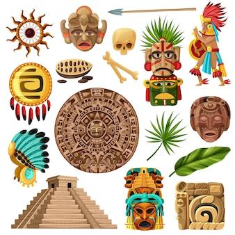 Conjunto de dibujos animados tradicionales mayas
