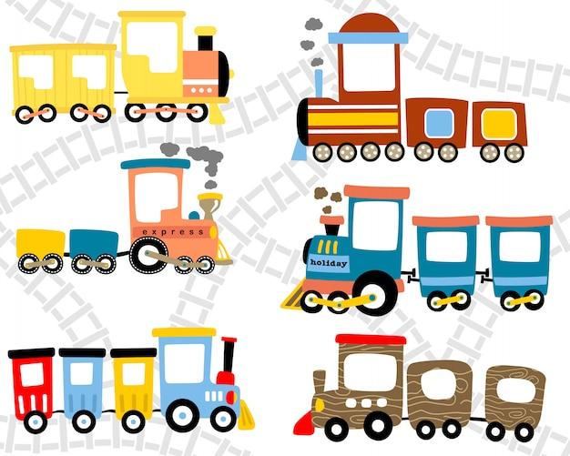 Conjunto de dibujos animados de tren de tallo