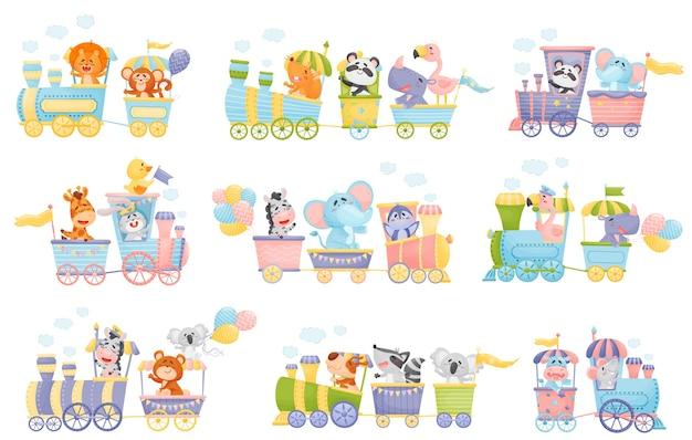 Conjunto de dibujos animados de trenes y vagones con diferentes animales.