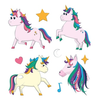 Conjunto de dibujos animados unicornios lindos vector diseño gráfico del ejemplo