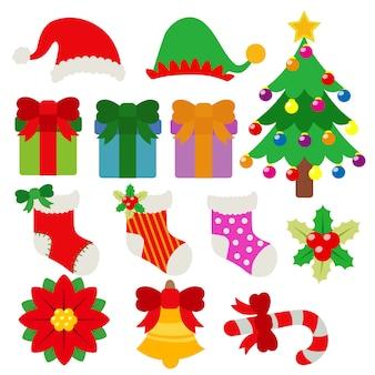 Conjunto de dibujos animados de vacaciones de objeto de elemento de navidad