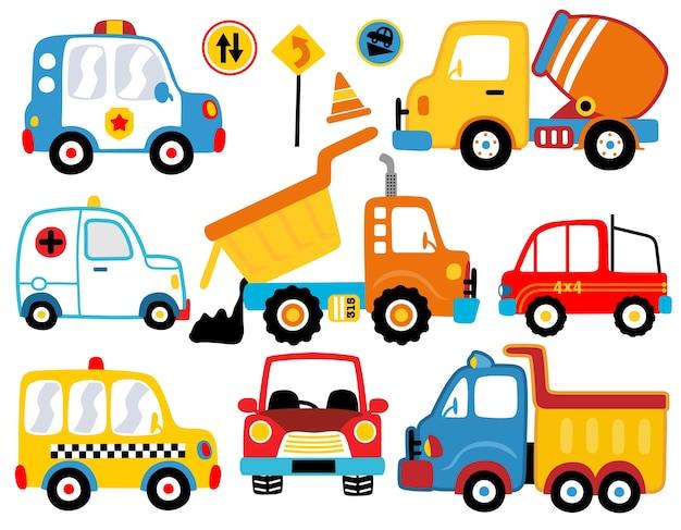 Conjunto de dibujos animados de varios vehículos