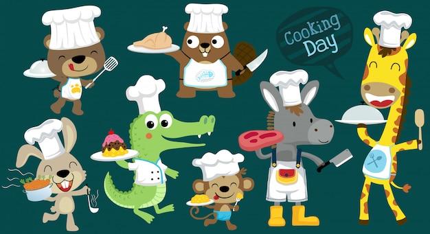 Conjunto de dibujos animados de vector de animales divertidos chef cocinando