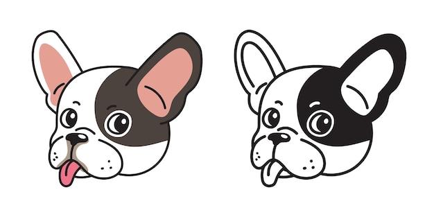 Conjunto de dibujos animados de vector de caras de bulldog francés para el diseño.
