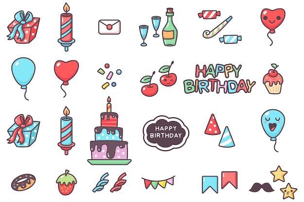 Conjunto de dibujos animados de vector de elementos de fiesta de feliz cumpleaños aislado en un espacio en blanco.