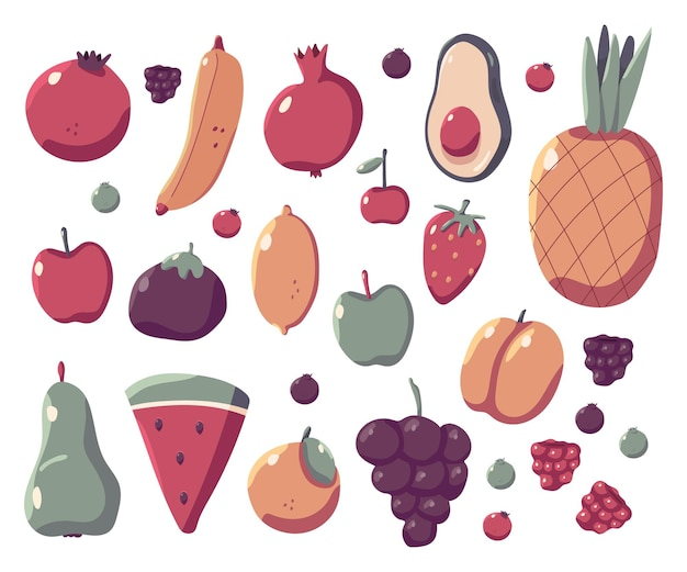 Conjunto de dibujos animados de vector de frutas de verano aislado en un fondo blanco.