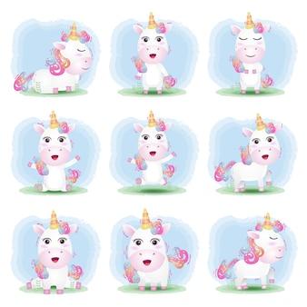 Conjunto de dibujos animados de vector de lindo unicornio