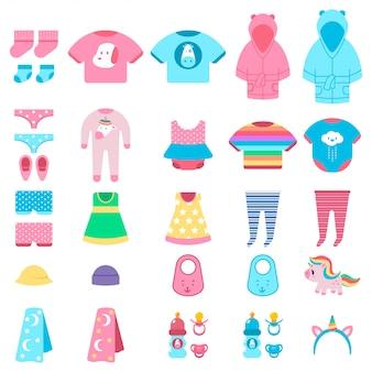 Conjunto de dibujos animados de vector de ropa y juguetes de bebé aislado.