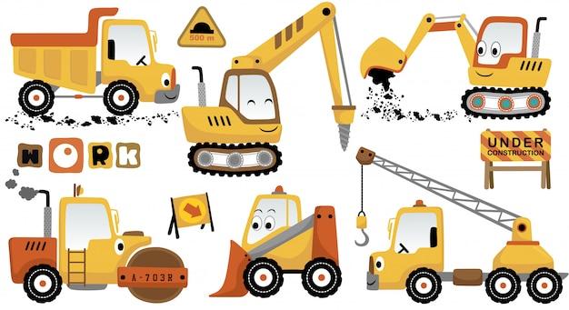 Conjunto de dibujos animados de vector de vehículos de construcción divertida