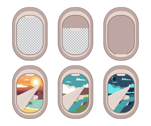 Conjunto de dibujos animados de ventanas de avión.