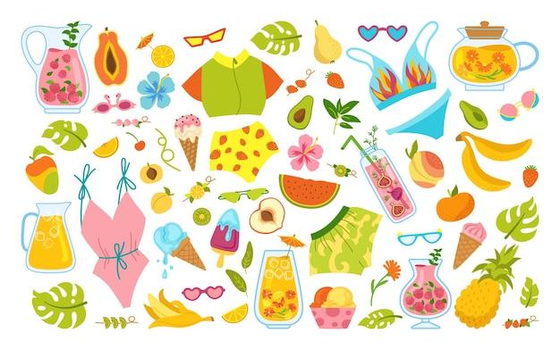 Conjunto de dibujos animados de verano hawaiano. helado de verano, tarro de cóctel, bikini, hervidor monstera, higos, té, papaya