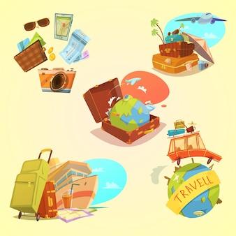 Conjunto de dibujos animados de viaje con equipaje de mapa y símbolos de transporte sobre fondo amarillo