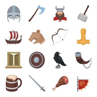 Conjunto de dibujos animados vikingo icono. ilustración arma de caballero. conjunto de dibujos animados aislados icono vikingo.