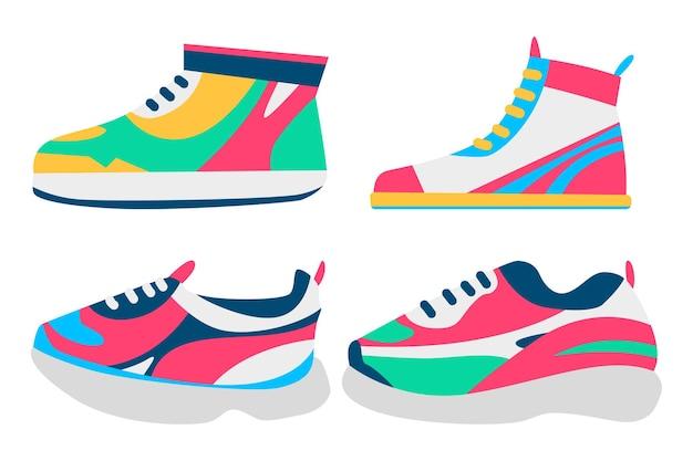 Conjunto de dibujos animados de zapatillas aislado en un fondo blanco.