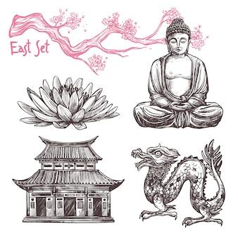 Conjunto de dibujos asiáticos