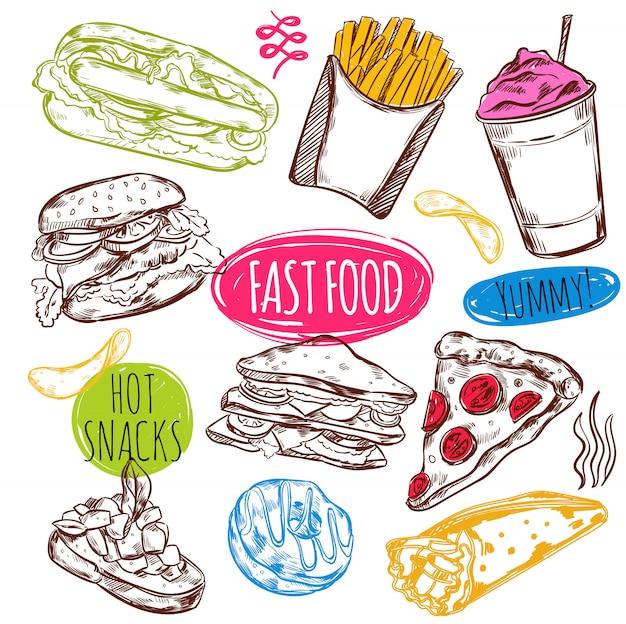 Conjunto de dibujos de comida rápida