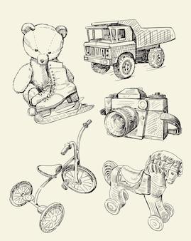 Conjunto de dibujos de juguetes retro viejos tiempos