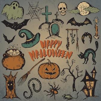Conjunto de dibujos de personajes de halloween con sombrero de bruja