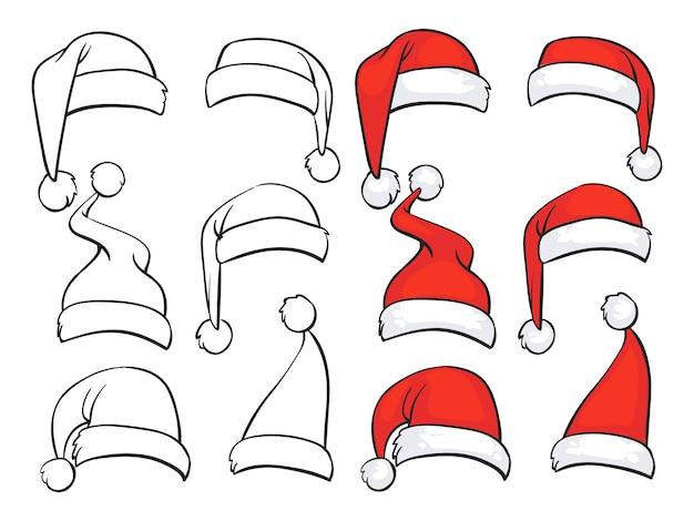 Conjunto de dibujos de sombreros rojos de santa con piel blanca