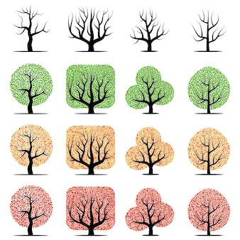 Conjunto de dieciséis árboles vectoriales con hojas verdes, amarillas, rojas y sin hojas aisladas sobre fondo blanco