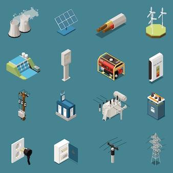 Conjunto de dieciséis iconos isométricos de electricidad aislada con imágenes de diversos elementos de infraestructura eléctrica doméstica e industrial