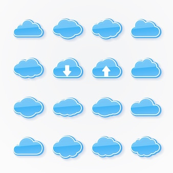 Conjunto de dieciséis iconos de nubes azules de diferentes formas que representan el clima con dos flechas que muestran la transmisión de datos hacia arriba y hacia abajo en la computación en nube