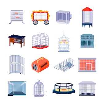 Conjunto de dieciséis jaulas de animales vacías aisladas que luchan contra el anillo y las imágenes retro de la prisión con barra de metal
