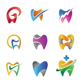 Conjunto de diente isotipo abstracto colorido para clínicas dentales o dentistas
