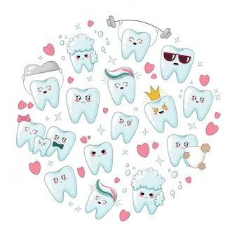 Conjunto de dientes de dibujos animados sanos kawaii con emodji