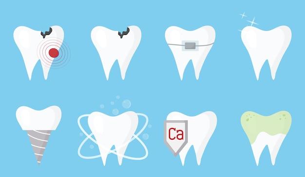 Un conjunto de dientes limpiar los dientes enfermos sucios