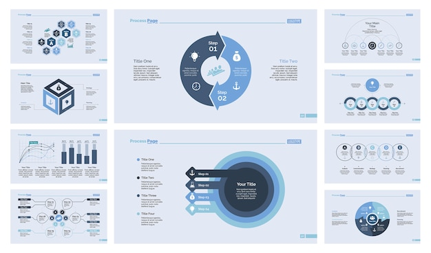 Conjunto de diez diapositivas empresariales