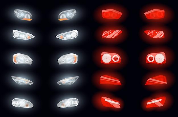 Conjunto de diez faros automáticos realistas y diez imágenes aisladas de luces de freno brillantes en la ilustración de fondo oscuro