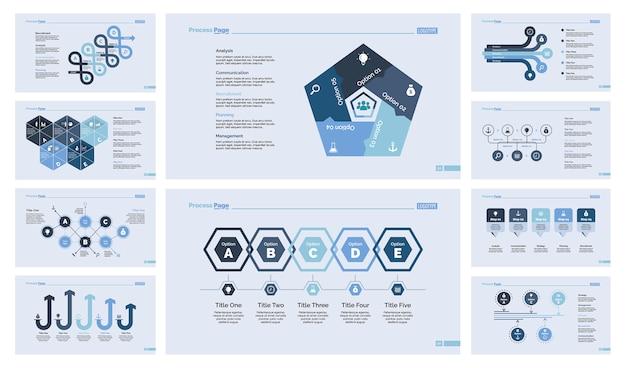 Conjunto de diez plantillas de diapositivas de trabajo en equipo