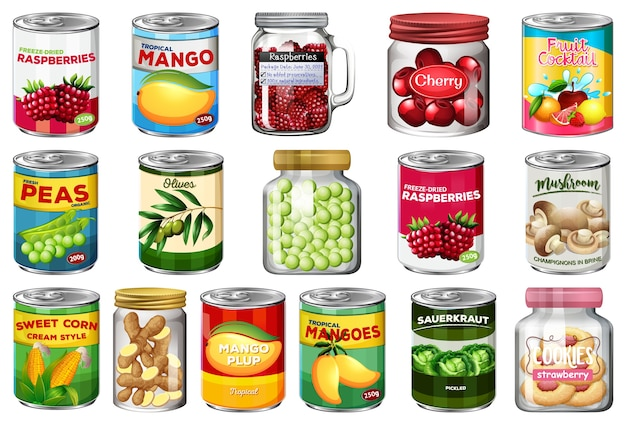 Conjunto de diferentes alimentos enlatados y alimentos en frascos aislados