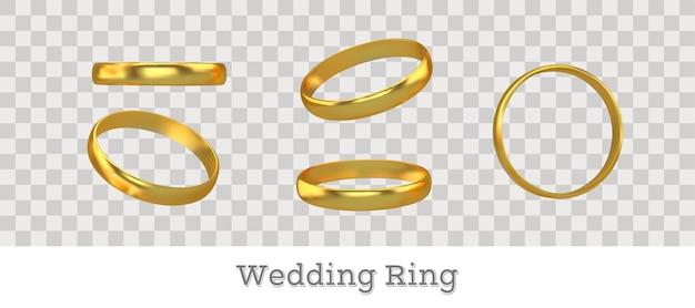 Conjunto de diferentes anillos de compromiso de oro.