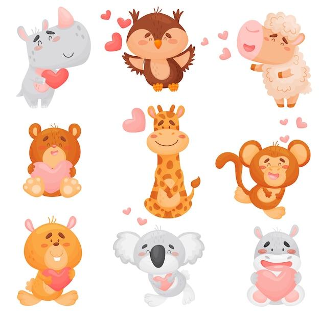Conjunto de diferentes animales de dibujos animados enamorados