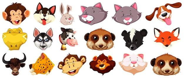 Conjunto de diferentes animales de dibujos animados lindo cabeza enorme aislado sobre fondo blanco.