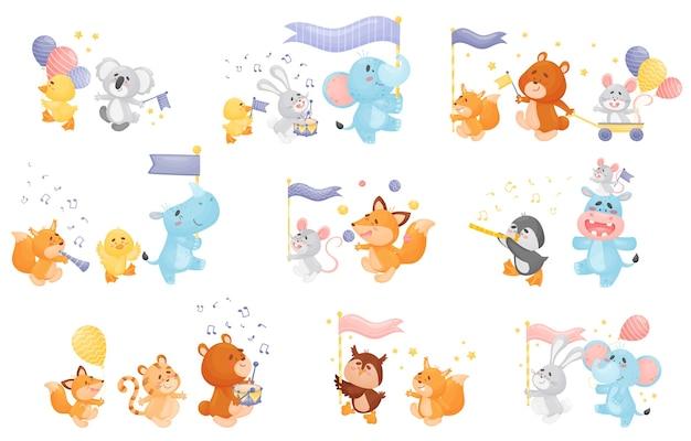 Conjunto de diferentes animales de dibujos animados.