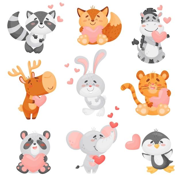 Conjunto de diferentes animales lindos enamorados.