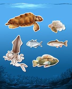 Conjunto de diferentes animales en el océano