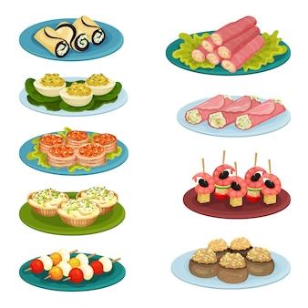 Conjunto de diferentes aperitivos. deliciosa comida para banquetes de vacaciones. elementos para cafe o restaurante menu