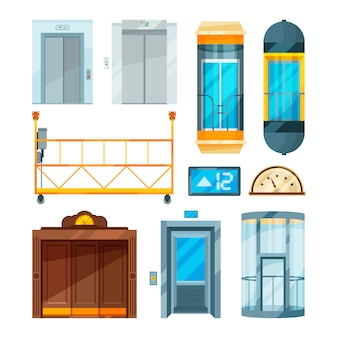 Conjunto de diferentes ascensores de cristal modernos.