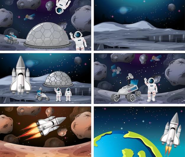 Conjunto de diferentes astronautas y escena de cohetes