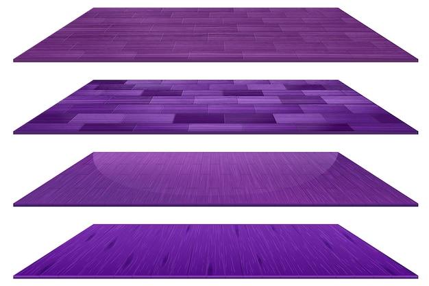 Conjunto de diferentes baldosas de madera de color púrpura aislado sobre fondo blanco.